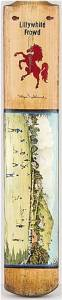 """full size cricket bat, with painting in oil on blade """"Knowles Hill from the South Devon Cricket Ground, Newton Abbot. c1850"""", (from the lithograph by G.Daimond)"""